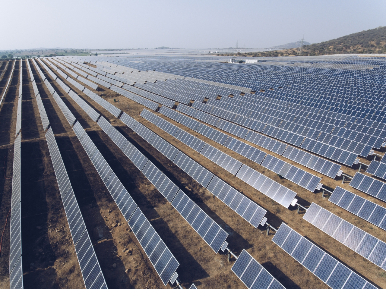 Three tiers of Solar power providing green renewable energy